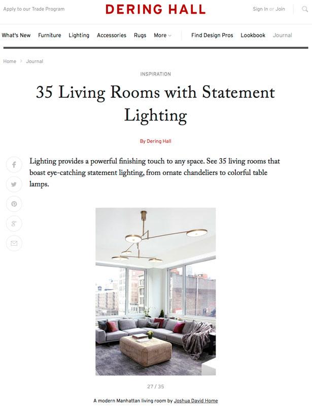 Living Room Statement Lighting Joshua David Interior Designer